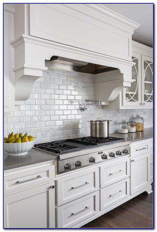 White Beveled Subway Tile With White Grout