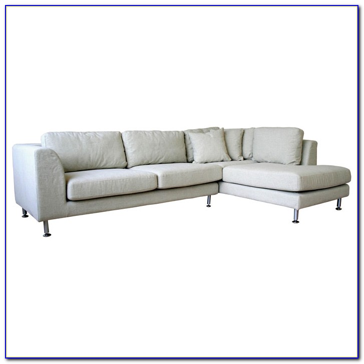 White Fabric Sectional Sofa With Chaise