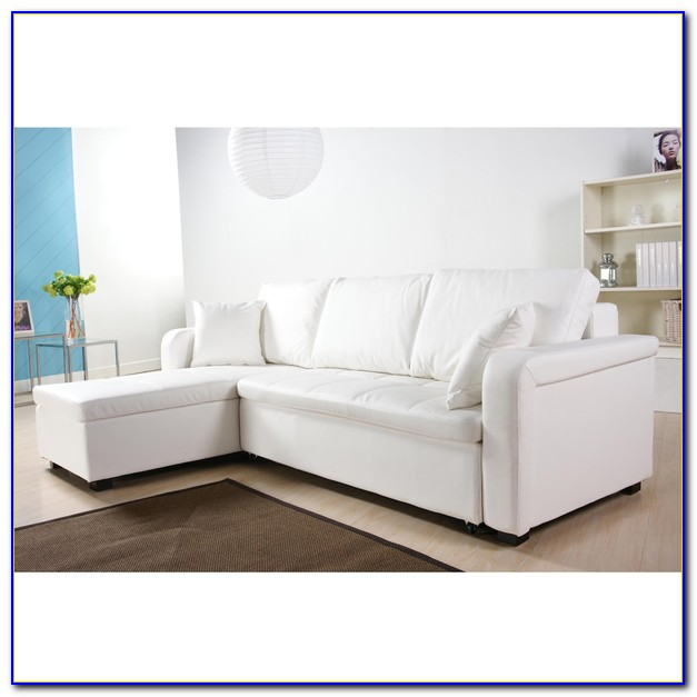 White Faux Leather Sectional Sofa
