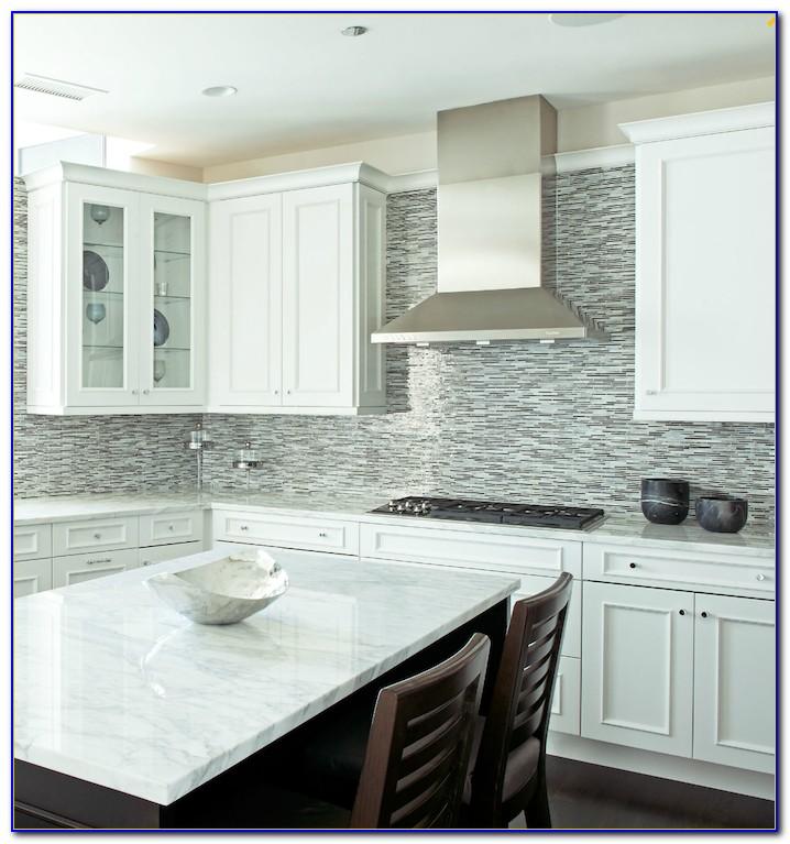White Glass Mosaic Tile Backsplash