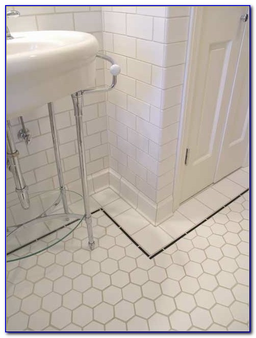 White Hexagon Tile Bathroom Floor