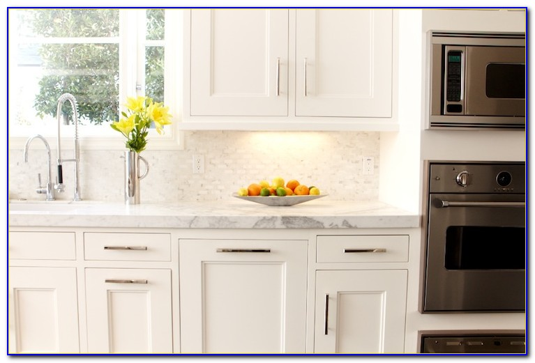 White Mosaic Tile Kitchen Backsplash