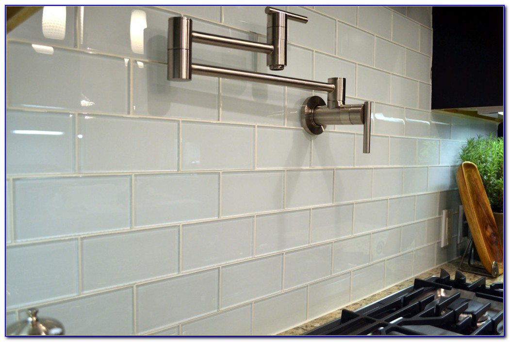 White Subway Tile Backsplash Gray Grout