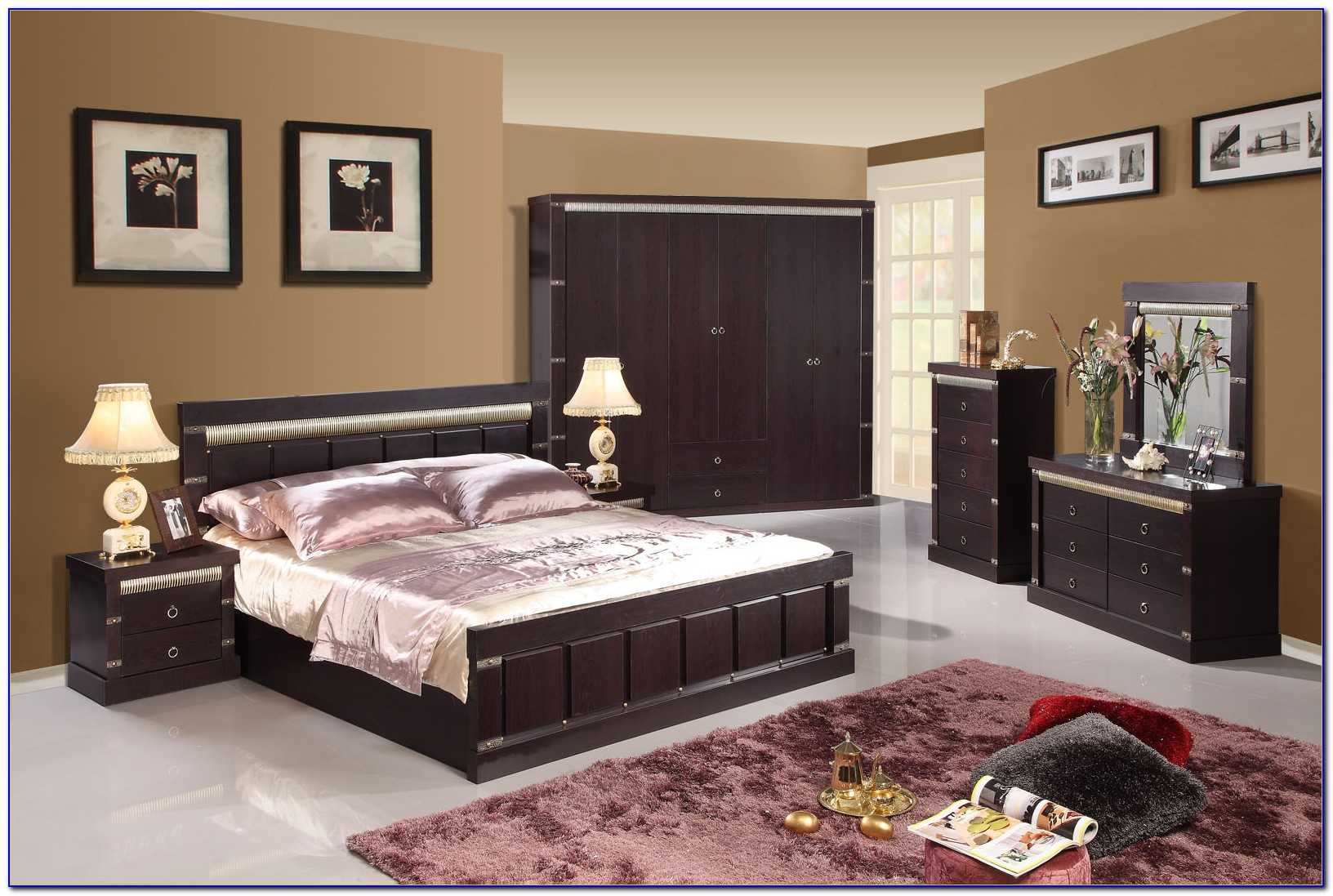 Black High Gloss Lacquer Bedroom Furniture