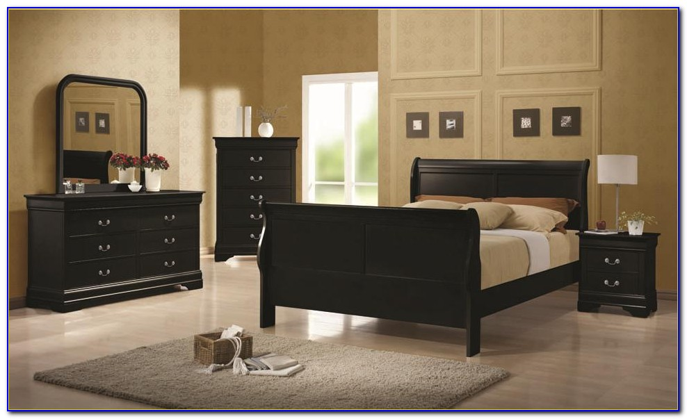 Black Queen Sleigh Bedroom Set