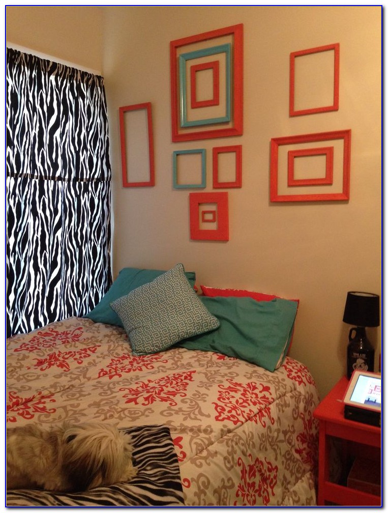 Coral And Aqua Bedroom