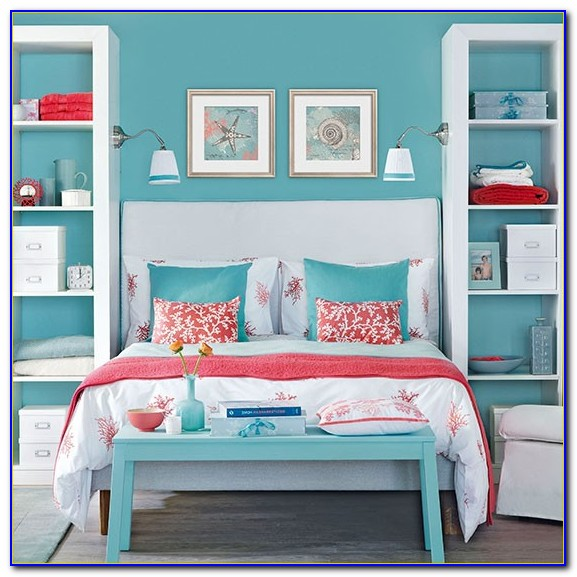 Coral And Teal Master Bedroom