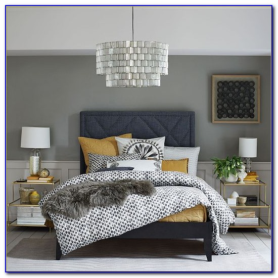 Coral Navy And Gray Bedroom