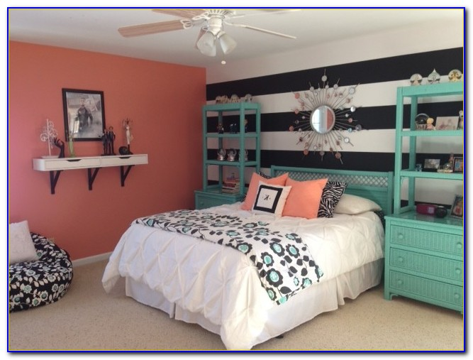 Coral Teal And Brown Bedroom