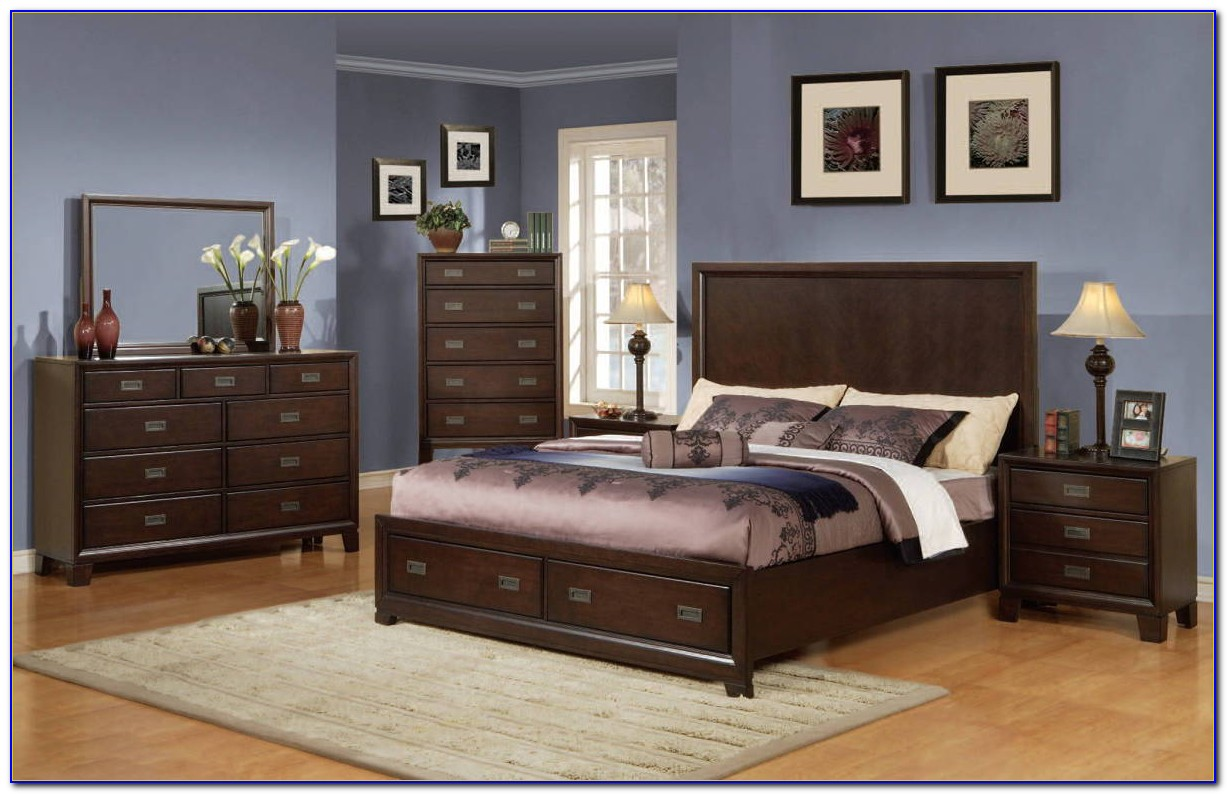 Dark Cherry Wood Bedroom Set