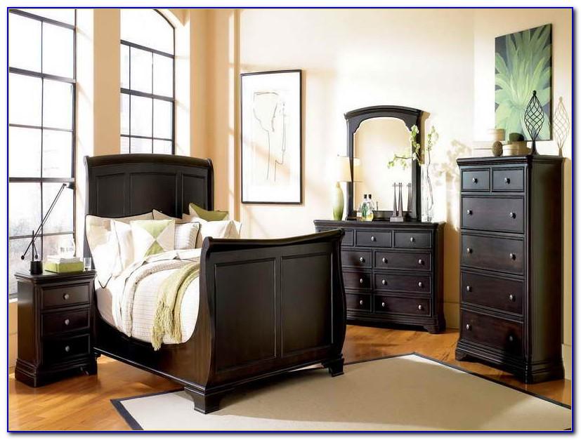 Dark Wood Sleigh Bedroom Sets