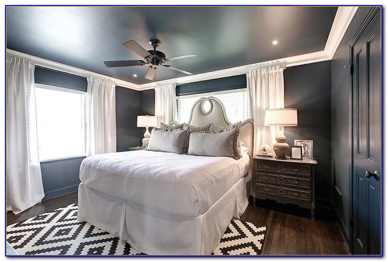 Navy Green And Gray Bedroom