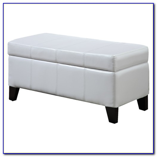 Storage Bench Seat Bedroom White Leather