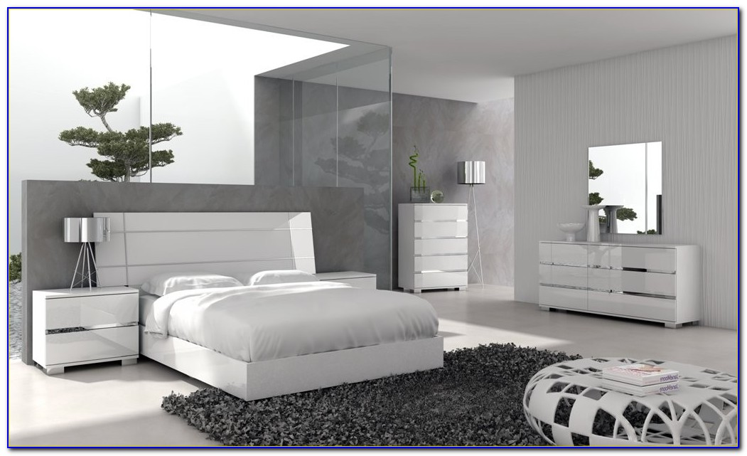 White Lacquer Modern Bedroom Furniture