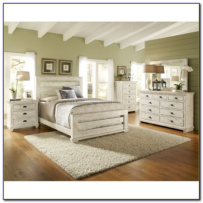 Distressed White Bedroom Set