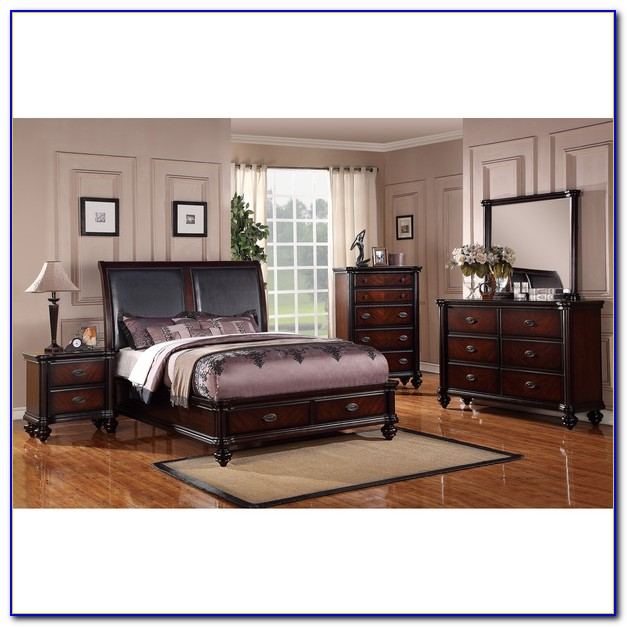 Faux Leather Queen Bedroom Set