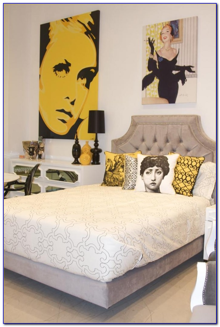 Grey Bedroom With Yellow Accents
