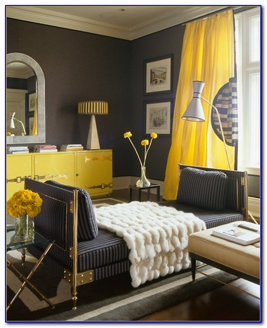 Grey Yellow And Black Bedroom