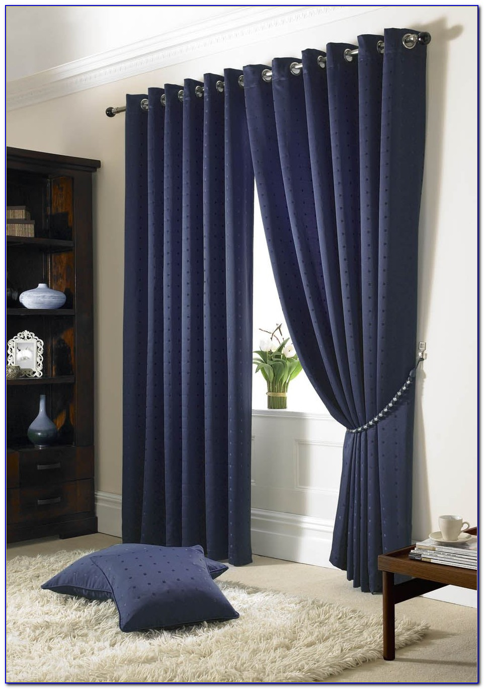 Navy Blue And White Bedroom Curtains