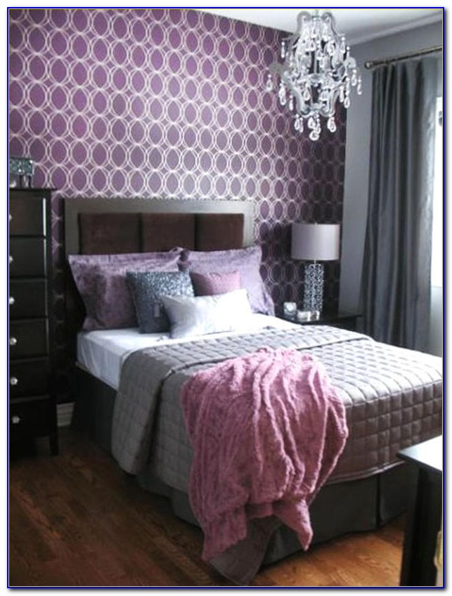 Purple And Gray Bedroom Design