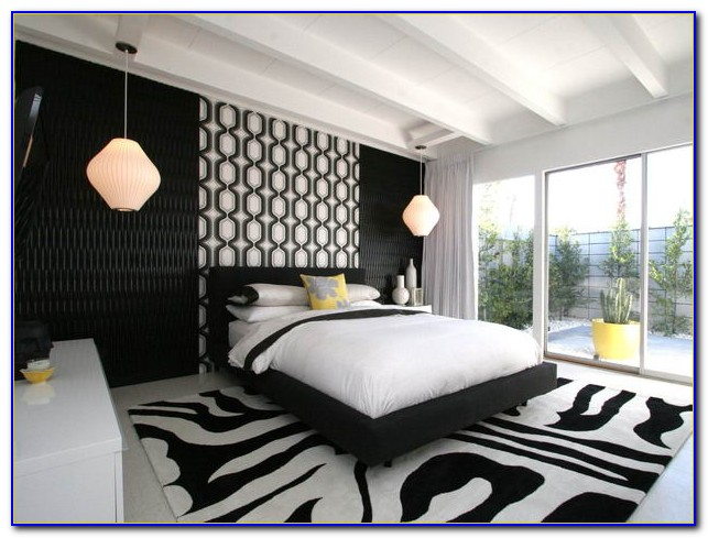 Modern Red Black And White Bedroom
