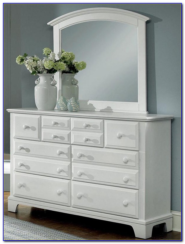 White Dresser With Mirror And Stool