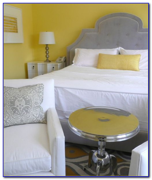 Yellow Gray And White Bedroom Decor
