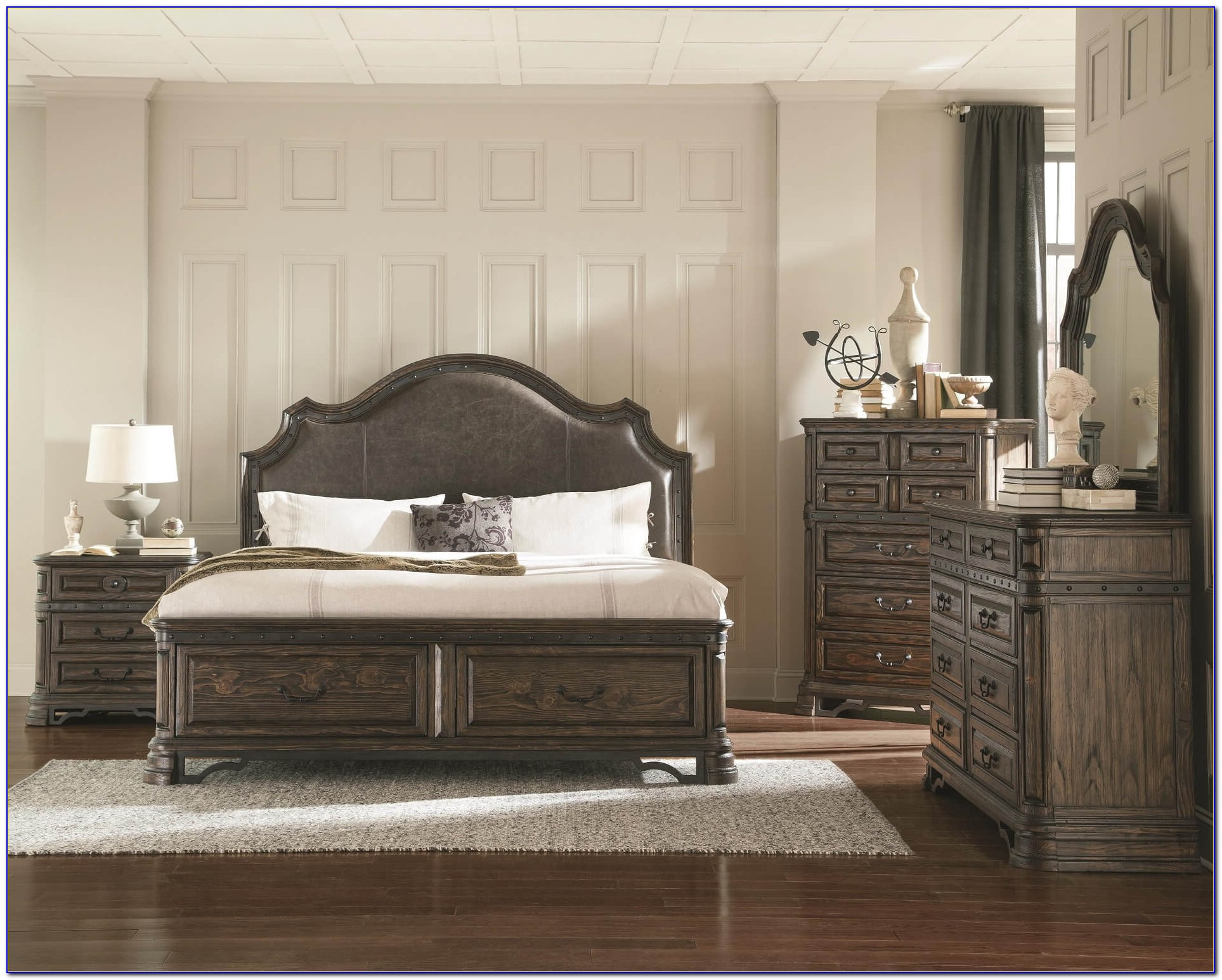 Black And White Bedroom With Brown Furniture