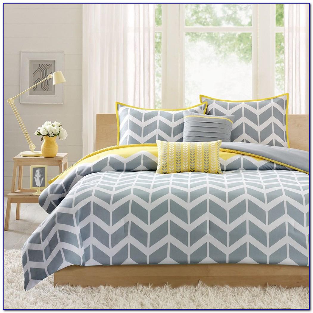 Black White Gray Yellow Bedroom