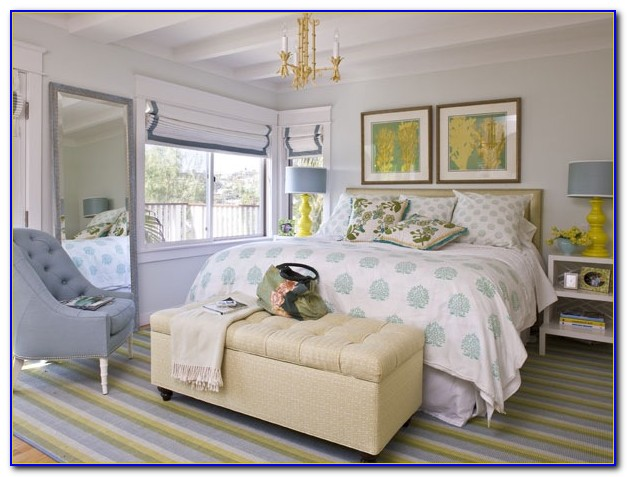 Blue Yellow And Gray Bedroom Design