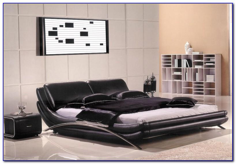 Modern Black Leather Bedroom Set