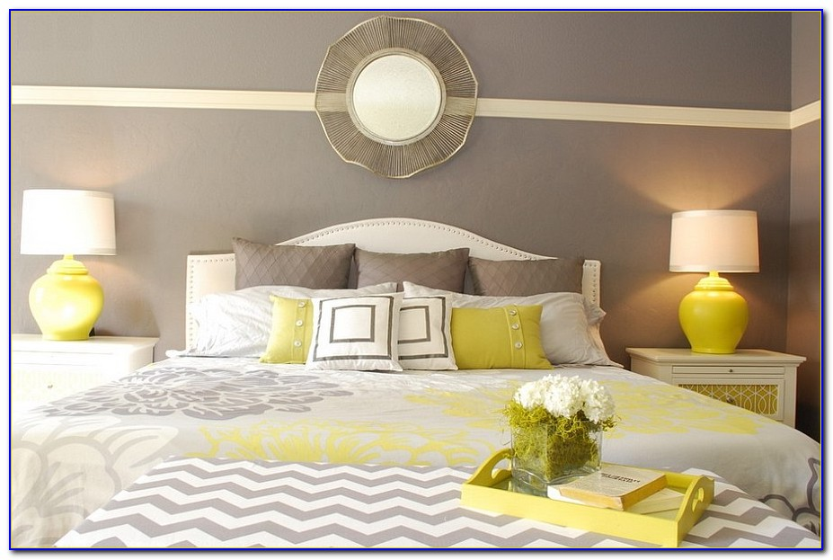 White Gray Yellow Bedroom