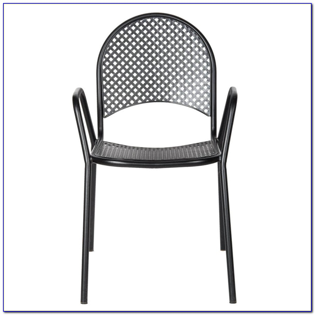 Black Metal Mesh Outdoor Chairs