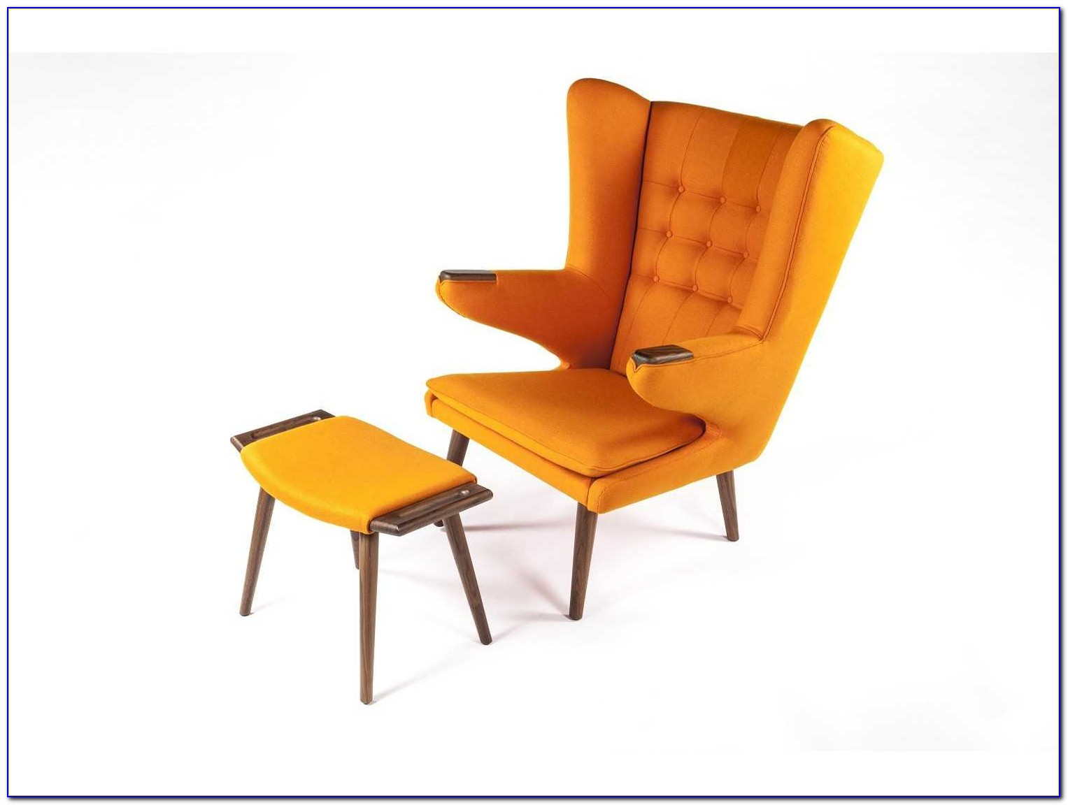 Orange Accent Chair With Ottoman