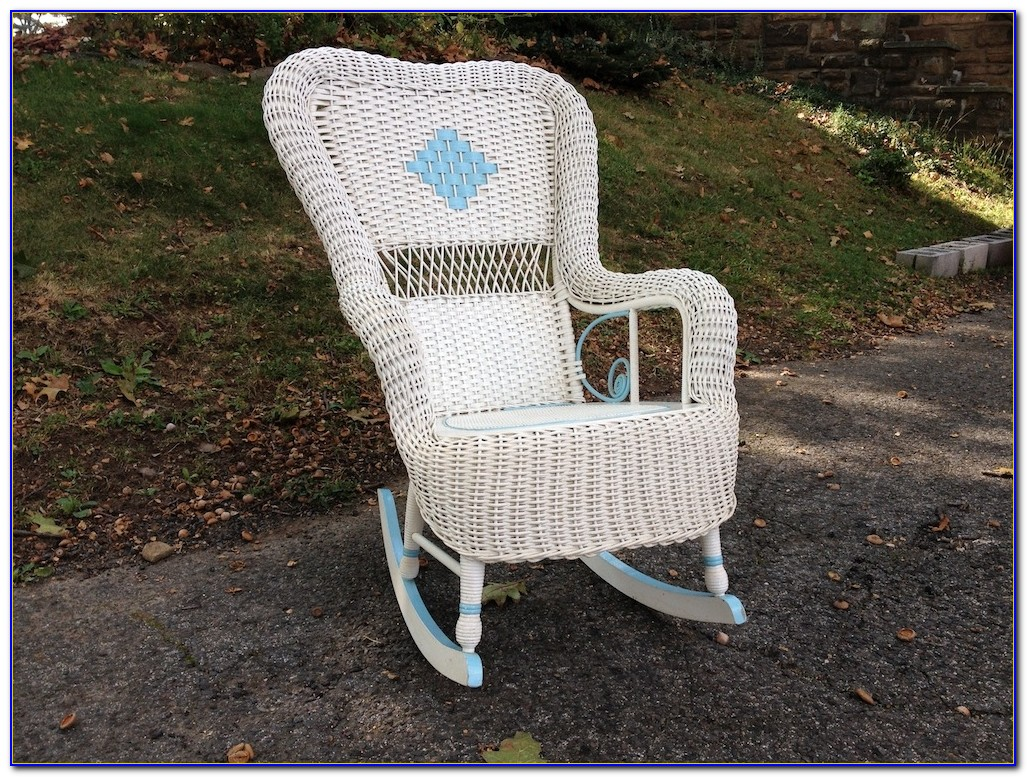 Antique White Wicker Rocking Chair