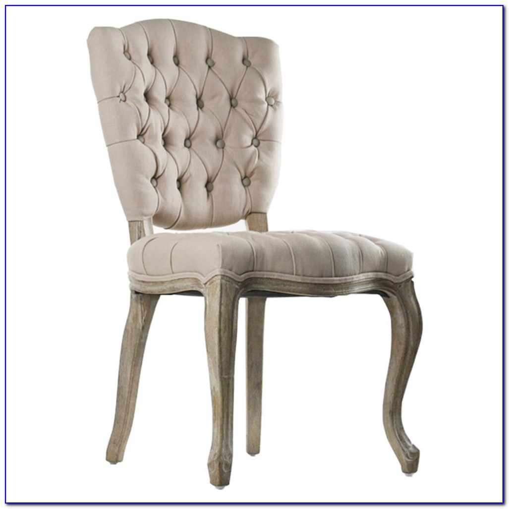 Beige Linen Tufted Dining Chairs