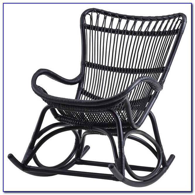 Black Resin Wicker Rocking Chairs