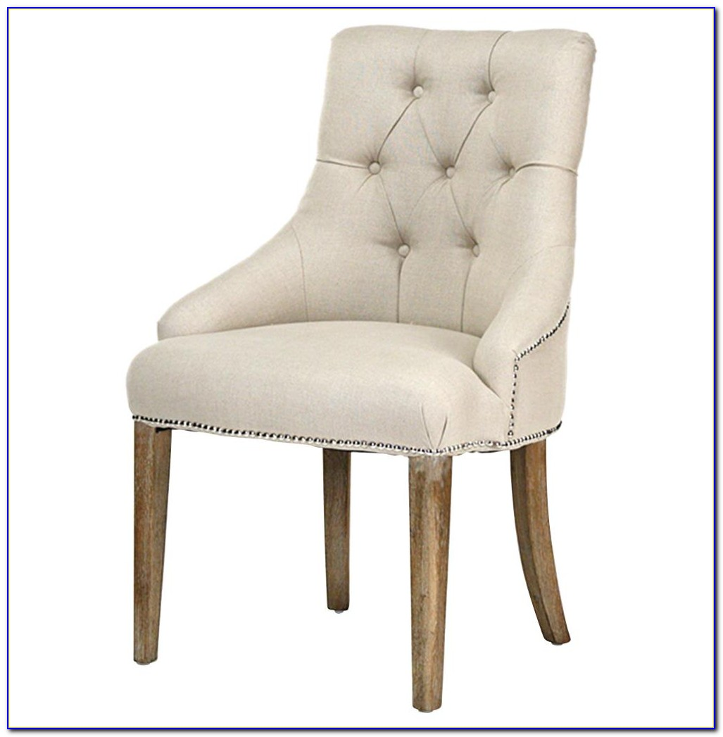 Blue Linen Tufted Dining Chair