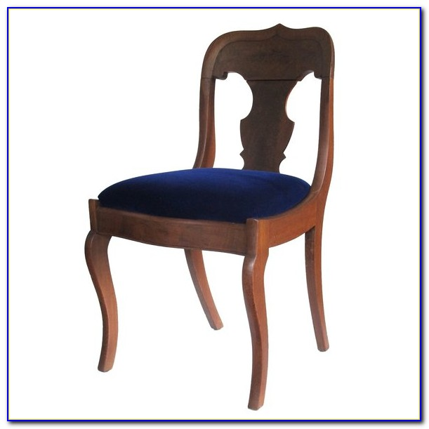 Blue Velvet Rolled Arm Chair