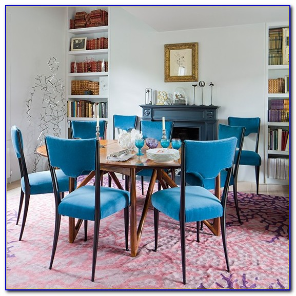 Blue Velvet Studded Dining Chairs