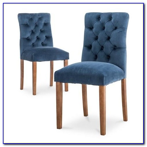 Blue Velvet Tufted Dining Chairs