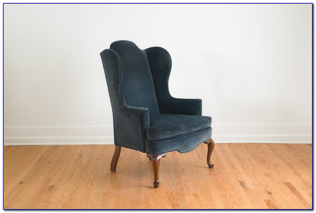 Blue Velvet Wingback Dining Chairs