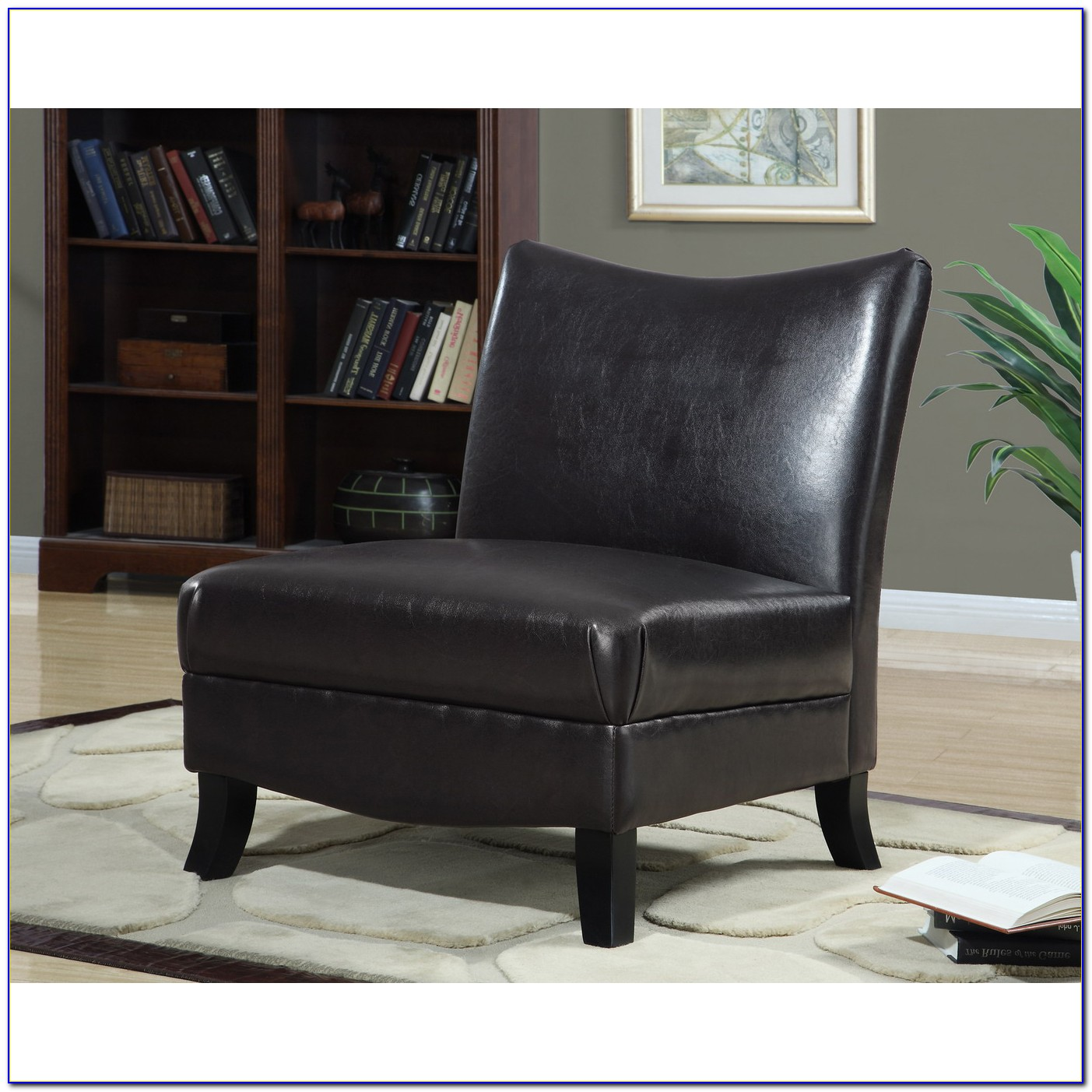 Brown Leather Accent Chair Set Of 2