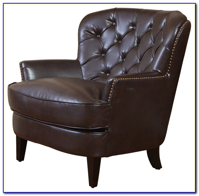 Brown Leather Accent Chair With Ottoman
