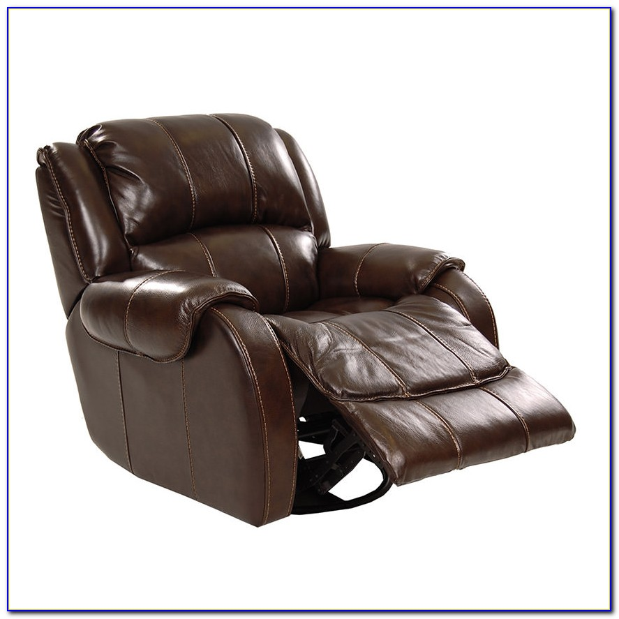 Brown Leather Recliner Chair And Stool