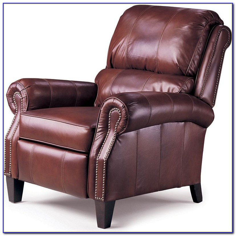 Brown Leather Recliner Chair Footstool