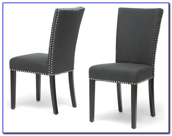 Dark Grey Fabric Dining Chairs