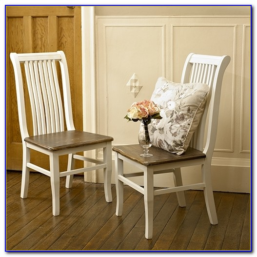 Distressed White Wood Dining Chairs