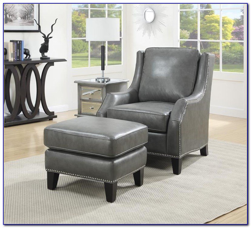 Gray Chair With Ottoman