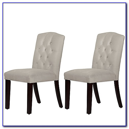 Gray Velvet Tufted Dining Chairs